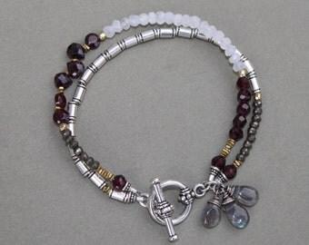 Moonstone Pyrite Garnet Labradorite Double Strand Silver Boho Bracelet Handcrafted Sundance Style