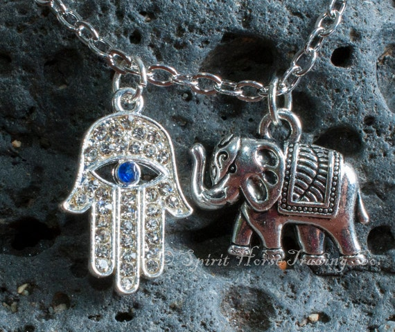 "Good Karma Necklace 18"" silver chain with elephant and hamsa or hamesh hand charms"