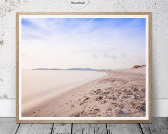 Ocean Beach PRINTABLE  Art, Beach Shore Nordic Art Print Print Minimalist Art, Coastal Art, Ocean Poster, Beach Poster, Scandinavian Art
