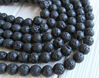 Lava beads 8mm, full strand, volcany lava, black lava 8mm, rough lava, lava stone beads, large lava rock, 8mm stones, US seller