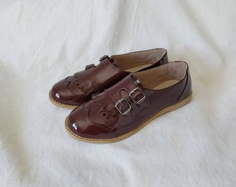 Akira- oxford shoes, flat shoes, monk straps, leather shoes, vintage shoes, women monk shoes, women shoes, handmade shoes by PINGMIMO