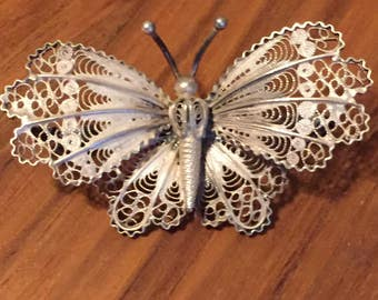 Vintage Silver Filigree Butterfly Brooch Pin