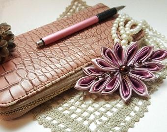Elegant Kanzashi style ribbon flower brooch pink lilac brown