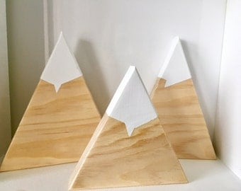 Wooden Mountains Set of 3 Nursery Home Gift Baby Room Decor