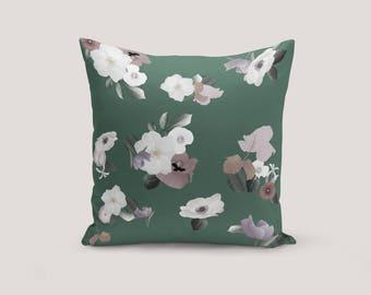 Floral Seat Cushion, Green Velvet Pillow, Window Seat Cushion, Floral Velvet Pillow, Modern Floral Cushion, Floral Accent Pillow