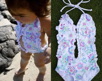 Baby girl floral bathing suit