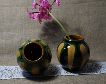 Ceramic vase Old vase Vintage ceramic home decor Set of 2 vases Soviet vintage vase Pair Decorated vase Pottery vase Ceramic flower vase