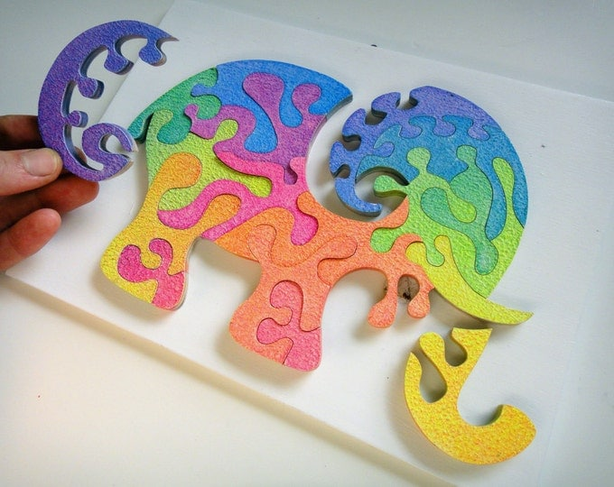 Puzzle Art: Elephant Strong, Smart Toy Brain Game With Frame Ready To Hang Family Gift Child Wooden Handmade Acrylic On Wood by Samo Svete