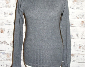 Size 12 14 vintage 70s short sleeve skinny fit thermal t shirt grey rib (GT88)