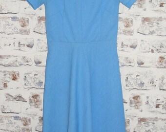 Size 8 vintage 60s short sleeve a line mod dress blue textured crimplene (GU01)