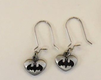 DC Comics Batman Logo Heart Shaped Earrings