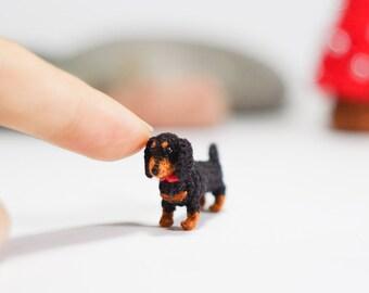 Miniature Black and tan Dachshund dog - Tiny amigurumi crochet animal