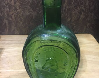Horseshoe Medicine Bitters Bottle - Reproduction /Glass Medicine Bottle / Green Glass Bottle / Horseshoe Bottle
