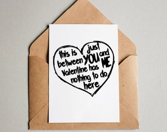 Funny Lettering Card. Just you and me card. Love Card to Print & Iphone image. Anti Valentines Day Card. Funny and unique Valentines Card.