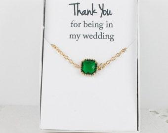 Emerald Gold Bracelet, Bridesmaid Green Bracelet, Gold Bracelet, Green Wedding Accessories, Bridesmaid Bracelet, Bridesmaid Jewelry