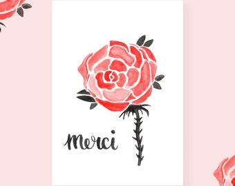 Thanks, pink watercolor greeting card