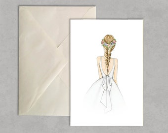 Flower crown + fishtail braid - fashion illustration, greeting card, fashion card,
