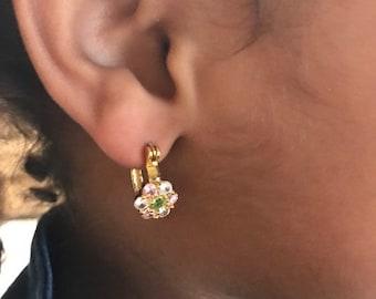 Brazilian Gold Layered CZ Flower Hoop Earrings