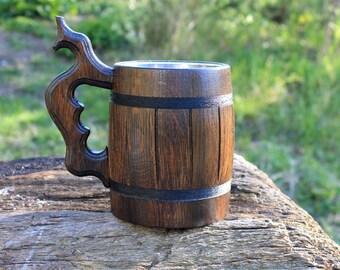 Wooden Beer Mug, Groomsman gift, Personalized Wooden beer mug,Wood Beer mug 22oz (0.6l) Chope à bière bois,Tankard , Holz Bierkrug