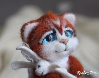Needle felted cat, wool felt animal, Felt kitten, cute animal, Needle felted animals, felted kitten, Felt toy, Soft sculpture, home decore
