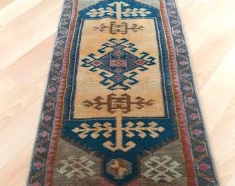"Small rug,Oushak rug,vintage rug.1""6x3""2ft.floor rug,Vintage Oushak rug,Oushak Vintage rug,Turkish rug,hallway rug,carpet,Area rug,old rug."