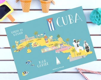 Illustrated map of Cuba - Illustrated map of Cuba