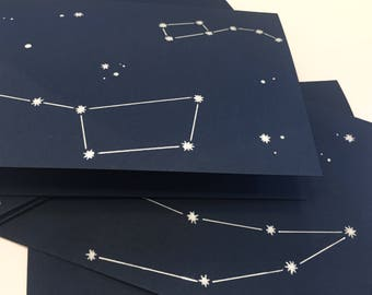 4x Constellation Cards | Birthday Cards | Note Cards with Envelope