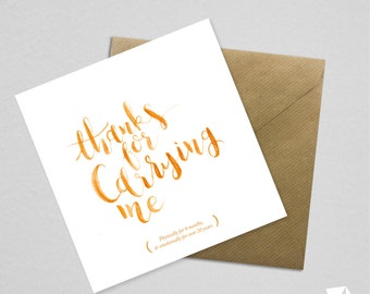 Mother's Day Humour Funny Card Thanks Calligraphy