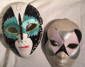 Vtg Hand-Painted Pastel Glitter Butterfly &  Mod Masquerade Marde Gras Masks in Gold Silver Green Purple Red Black and White Art Wall Decor