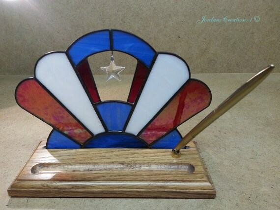 Unique Handmade Patriotic Stained Glass And Oak Pen Stand With
