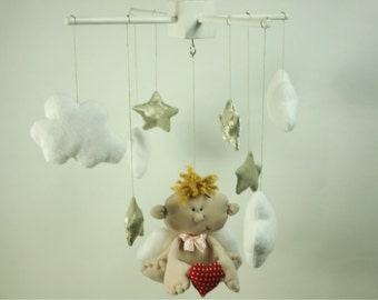 Baby Angel Mobile - Clouds Stars Mobile - Baby Mobiles Hanging - Angel Baby Mobile - Girl Nursery Mobile - Boy Nursery Mobile - Home Decor
