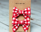 Red Buffalo Check Pigtail Bows