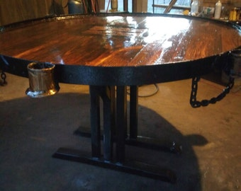 Crawfish Table- Rustic Industrial- 100 yr Old Reclaimed Lumber and Steel-Lichtenberg