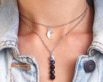 Lava rock necklace choker aromatherapy diffuser