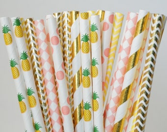 Pineapple Party Straws, Pool Party, Birthday Party Decorations, Theme party Decorations, Pool Party Decorations, 25 Straw Piece Mix