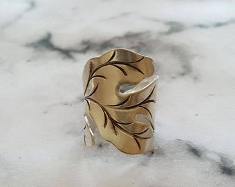 Handcrafted Wide Band  100% Pure Silver leaf, Leaves Ring, Handmade Silver Cuff Ring, Boho ring, (RING0009)