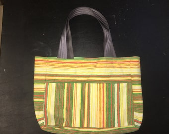 Retro striped handbag tote