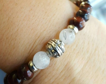 Red Tiger Eye with Silver