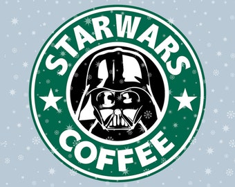 Stars wars coffee Darth Vader SVG cutting ESP vector instant download