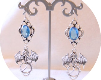 Earrings Blue Dragon, silver dragon and Azure Blue Crystal