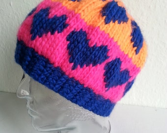 Hand-knitted Hat with Blue Hearts, Pink and Orange Wool Hat , Warm Winter Hat , HandMade Hat , Wool Hat , Slouchy Hat , 100% unique