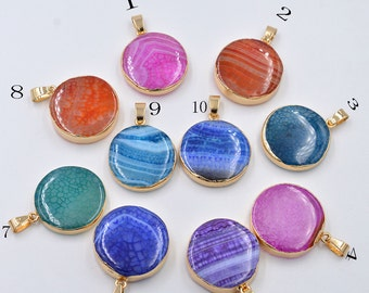 Framed Natural color stone charm/pendant/necklace