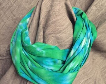 Light Infinity Scarf , Green Blue , Rayon Scarf , Tie Dyed Circle Scarf, Bright Scarves , Spring Accessory , womens loop scarf , SC115