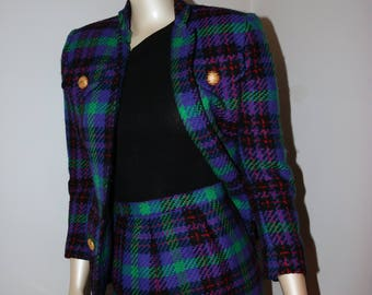 80s Neon Plaid Blazer & Skirt