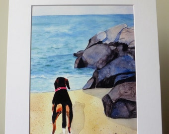 Beagle Watercolor Painting, Print, Beach Art,  Ocean, Beagle, Seascape, Dog Lover, Home Decor, Good Cause Item, Donation, Animal Rescue