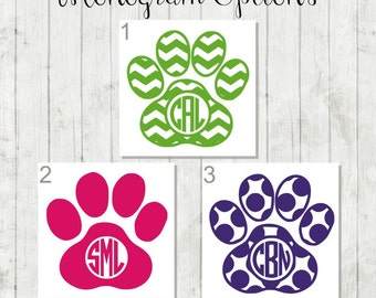 Paw Print Monogram Decal - Paw Print Decal - Gift for Pet Lover - Yeti Decal - Car Decal - Paw Print Monogram - Dog Decal - Laptop Decal