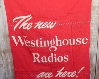 Large Vintage Westinghouse Radio Advertising Banner