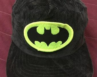 Vintage 80s Batman trucker hat cap velvet free adult size
