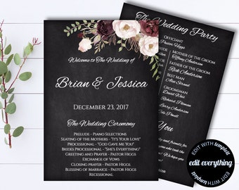 Floral Wedding Program Template - Floral Program - Floral Wedding Programs - Printable Program Template - DIY Program - Floral Chalkboard