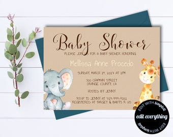 Kraft Baby Shower Invitation Template - Gender Neutral Baby Shower Template - Instant Download Baby Shower Invite - Baby Boy or Baby Girl